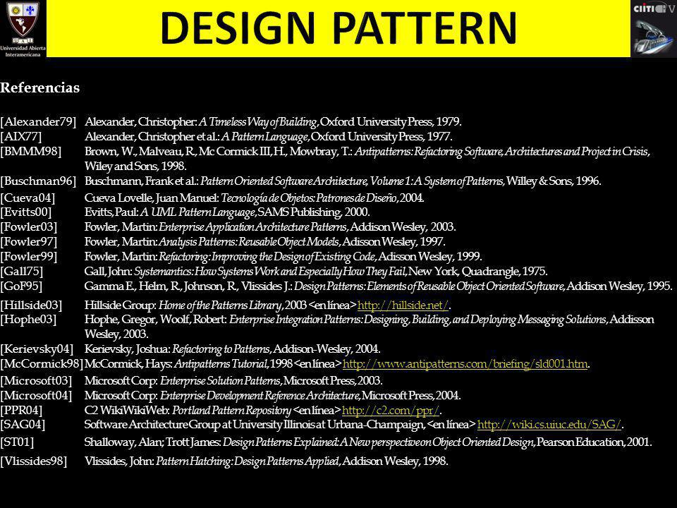 Design pattern Referencias [Alexander79]